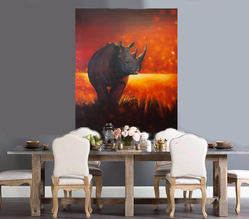 'On the Edge - Black Rhino' 120 x 92 cms Oil on Stretched Canvas WAS $4,000 AUD NOW $3,500 AUD